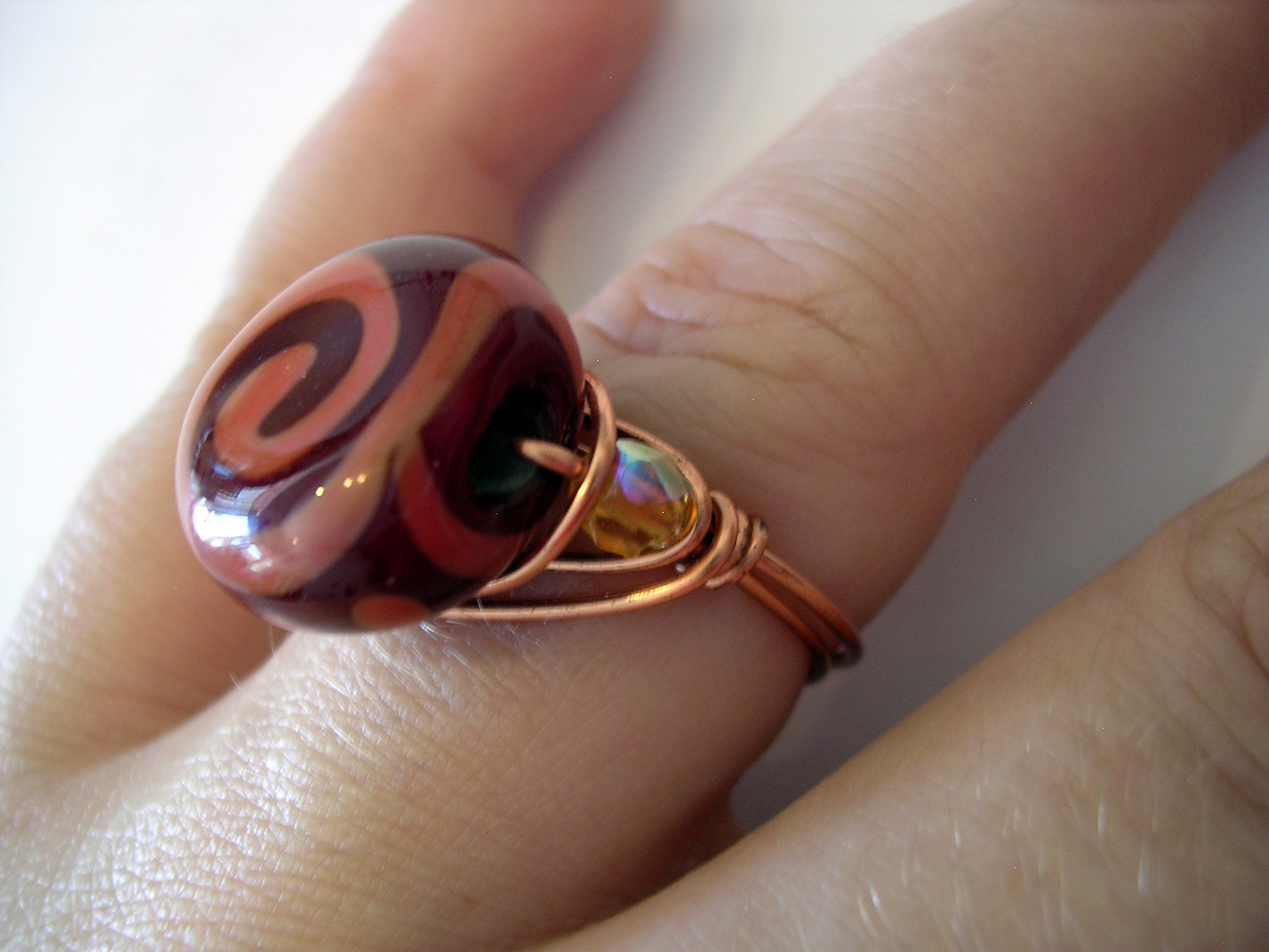 red spiral bead ring 1
