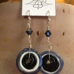 blue black disk earrings