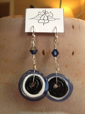 blue black disk earrings