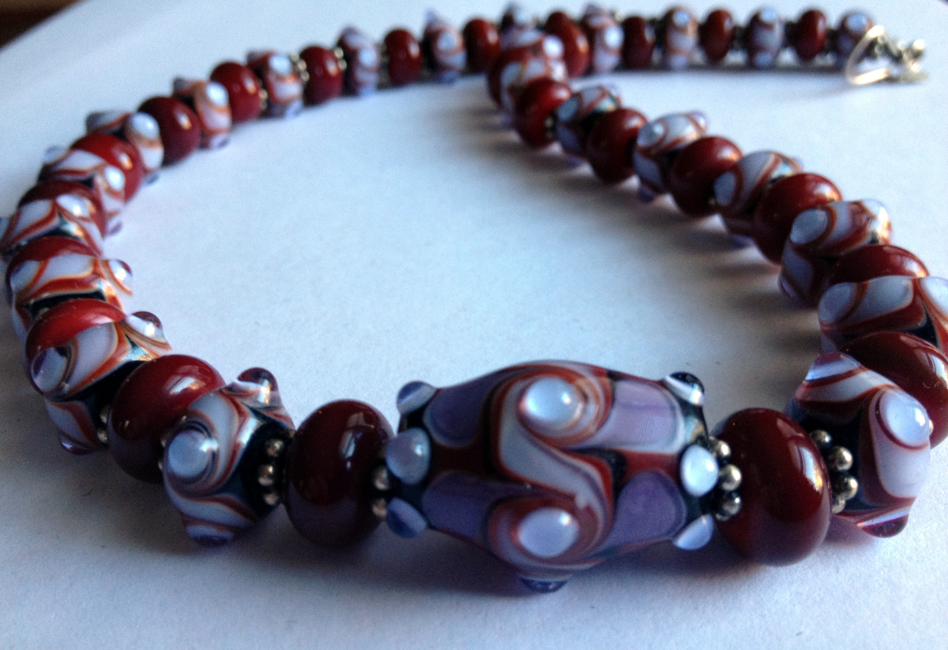 violet red swirly necklace 2