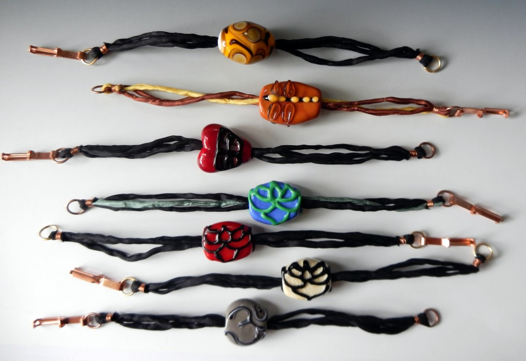 Beautiful Glass Bead and Silk Bracelets